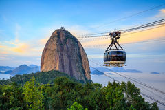 Cable car and  Sugar Loaf mountain Royalty Free Stock Photos