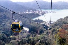 cable car at Sun Moon Lake, Taiwan stock images