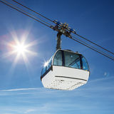 Cable car and sun Stock Photography