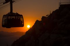 Cable car at sunset Stock Photo