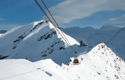 Cable car in the swiss Alps, Zermatt Stock Photo