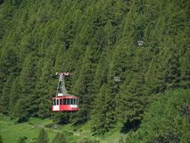 Cable car in Swiss Alps, Zermatt, Switzerland. Royalty Free Stock Images
