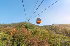 Free Cable Car Taking Visitors Up To The Mutianyu Section Of The Great Wall Of China Located In Huairou Country Northeast Of Central B Stock Photo - 115879750