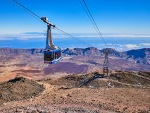 Cable Car on Teide volcano on Canarian islands, Tenerife.  royalty free stock images