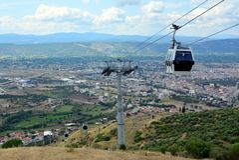 Cable car, Teleferic Pergamon. Bergama, Izmir city view, Turkey stock images