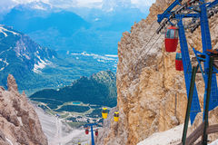 Cable car terminus in the Dolomites Royalty Free Stock Photos