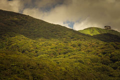 Cable car terminus on Mount Komagatake. Hakone, Japan - September 27, 2016: The cable car terminus near the top of Mount Komagatake sits alone near the flank Stock Images