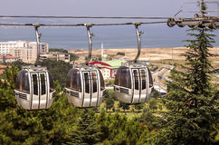 Cable car with three cabins Stock Photos