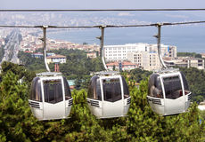 Cable car with three cabins Royalty Free Stock Photos