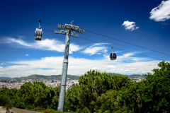 Cable car to Barcelona Royalty Free Stock Images