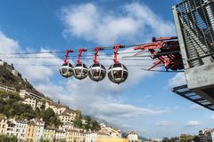 Cable car to the Bastille in Grenoble and View over the city of Stock Photos