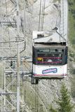 The cable car to Gimmelwald in Mürren, Switzerland. The cable car to Gimmelwald in Mürren, in Bernese Oberland, Switzerland. This is the first of the two cable Royalty Free Stock Photo