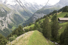 The cable car to Gimmelwald in Mürren, Switzerland. The cable car to Gimmelwald in Mürren, in Bernese Oberland, Switzerland. This is the first of the two cable Royalty Free Stock Images