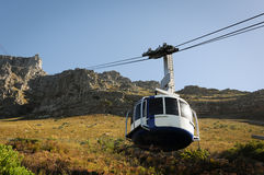 Cable car to a high mountain Stock Images