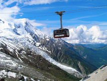 Cable car to Mont Blanc. Royalty Free Stock Photo