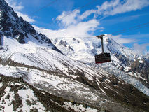 Cable car to Mont Blanc. Royalty Free Stock Photography