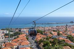 Cable car to Monte at Funchal, Madeira Island Portugal Royalty Free Stock Photos