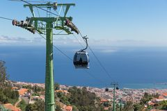 Cable car to Monte at Funchal, Madeira Island Portugal royalty free stock photography