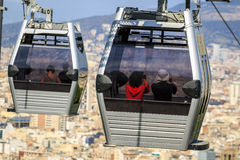 Cable car to Montjuic hill, Barcelona, Spain Royalty Free Stock Image