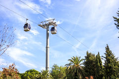 Cable car to Montjuic hill, Barcelona, Spain Stock Photography