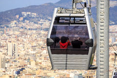 Cable car to Montjuic hill, Barcelona, Spain Stock Image