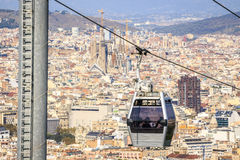 Cable car to Montjuic hill, Barcelona, Spain Stock Photo