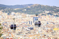 Cable car to Montjuic hill, Barcelona, Spain Royalty Free Stock Photo