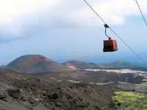 The cable car to Mount Etna. royalty free stock image