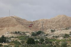 Cable Car to Mount of Temptation in Jericho. Palestine. Israel Royalty Free Stock Photography