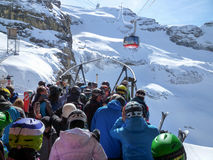 The cable car to Mount Titlis over Engelberg Royalty Free Stock Images