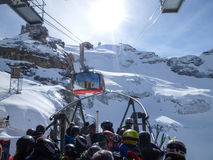 The cable car to Mount Titlis over Engelberg Royalty Free Stock Photography