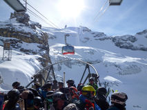 The cable car to Mount Titlis over Engelberg Royalty Free Stock Image