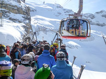 The cable car to Mount Titlis over Engelberg Stock Photo