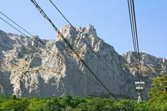 Cable car to the mountain Royalty Free Stock Photo