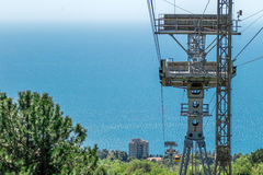 Cable car to mountain Ai-Petri view from the cabin at beautiful blue sea Royalty Free Stock Images
