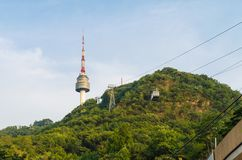 Cable car to N Seoul Tower Stock Images