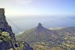 Cable Car to the peak of Table Mountain to witness the phenomenal views over Cape Town and Table Bay, South Africa Royalty Free Stock Image