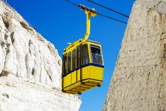 Cable car to Rosh HaNikra grotto in Israel. Cable car to Rosh HaNikra grotto in North Israel Stock Image