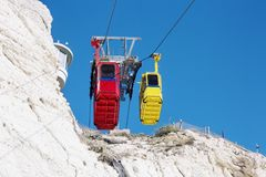 Cable car to Rosh HaNikra grotto in Israel. Cable car to Rosh HaNikra grotto in North Israel Stock Photos