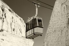 Cable car to Rosh HaNikra grotto in Israel. Cable car to Rosh HaNikra grotto in North Israel Stock Photo
