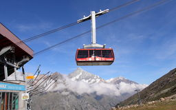 Cable car to Rothorn of Matterhorn Stock Image