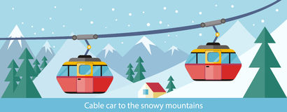 Cable Car to Snowy Mountains Design Stock Image