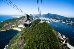 The cable car to Sugar Loaf   Stock Photography