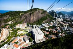 The cable car to Sugar Loaf in Rio de Janeiro Royalty Free Stock Image