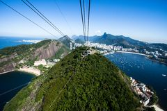 The cable car to Sugar Loaf in Rio de Janeiro, Brazil. Stock Images