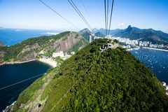 The cable car to Sugar Loaf in Rio de Janeiro, Brazil. Stock Photography