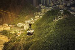 Cable car to Sugar Loaf in Rio de Janeiro with light leak Royalty Free Stock Image