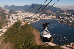 Cable Car to the Sugarloaf Mountain in Rio de Janeiro Royalty Free Stock Photos
