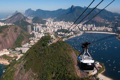 Cable Car to the Sugarloaf Mountain in Rio de Janeiro Stock Photo