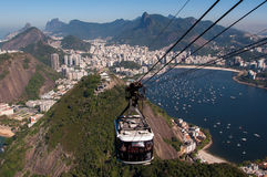 Cable Car to the Sugarloaf Mountain in Rio de Janeiro Stock Photography